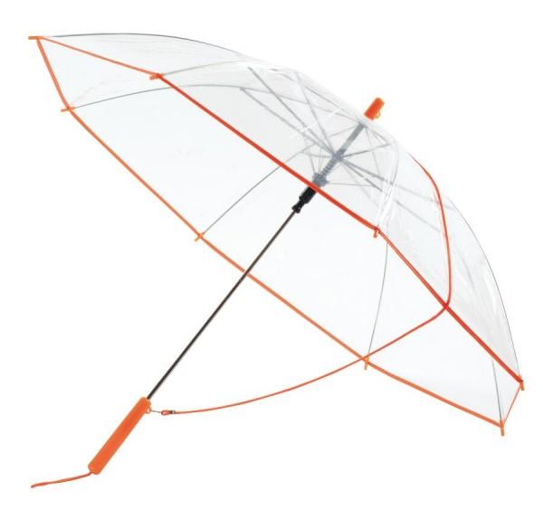 Automatik-Umhängeschirm PANORAMIC in transparent, orange