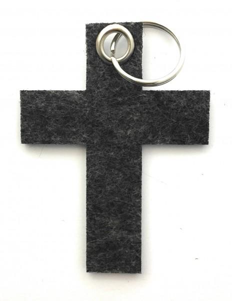 Kreuz groß - Schlüsselanhänger aus Filz in schwarz meliert - optional mit Gravur / Aufdruck