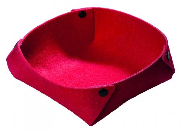 Filzkorb mit Druckknöpfen - rot - optional mit Siebdrucktransfer
