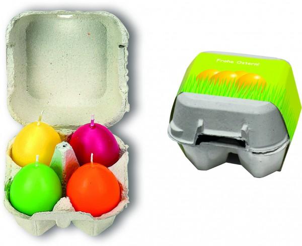Osterei-Packung mit 4 bunten Ei-Kerzen, farblich sortiert, 1-4 c Digitaldruck inklusive