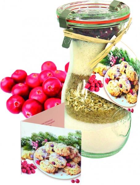 Cookie-Backmischung Cranberry, 1-4 c Digitaldruck inklusive