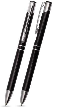 TROJA Schwarz glänzender Metallkugelschreiber