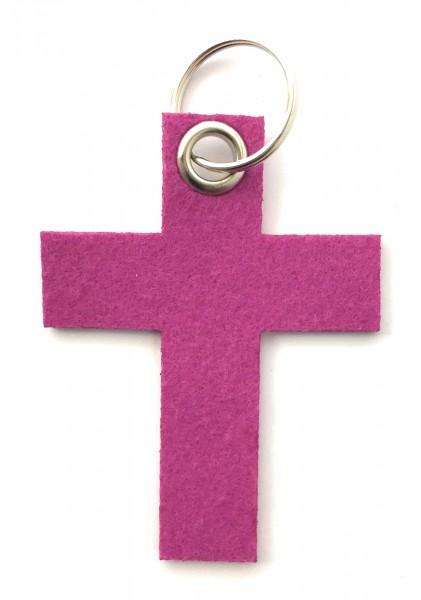 Kreuz groß - Schlüsselanhänger aus Filz in magenta - optional mit Gravur / Aufdruck