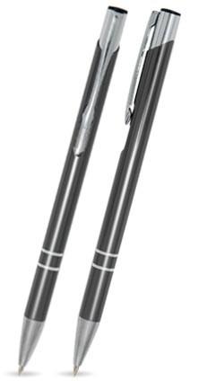 LIBO SLIM Anthrazit glänzender Metallkugelschreiber