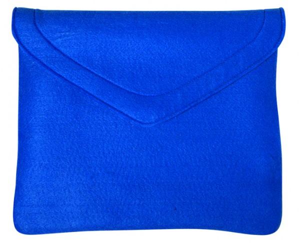 Polyesterfilz Laptop-Tasche (Filzstärke: ca. 2,5 mm) - blau - optional mit Siebdrucktransfer