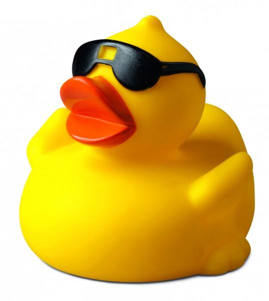 Quietsche-Ente Sonnenbrille - gelb (Größe: ca. 8 cm) - optional mit Tampondruck