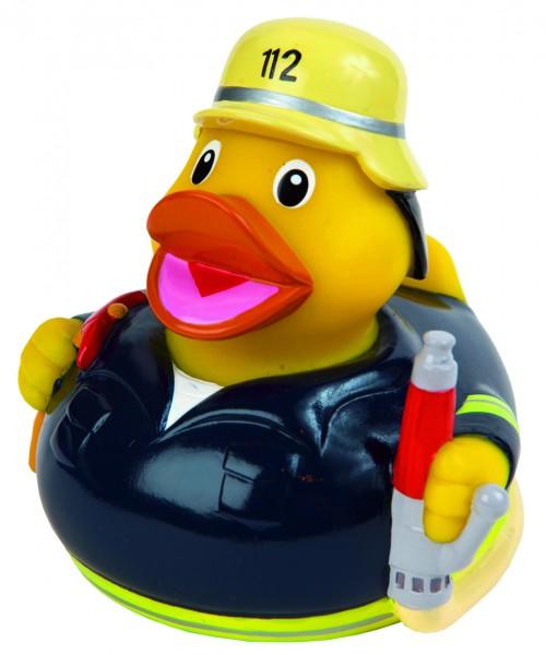 Quietsche-Ente Feuerwehr - bunt (Größe: ca. 8 cm) - optional mit Tampondruck