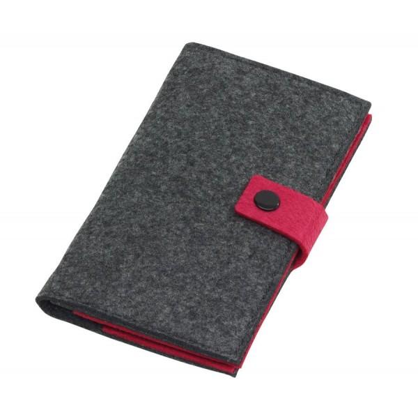 Filz-Visitenkarten-Portfolio EDITION in grau, pink