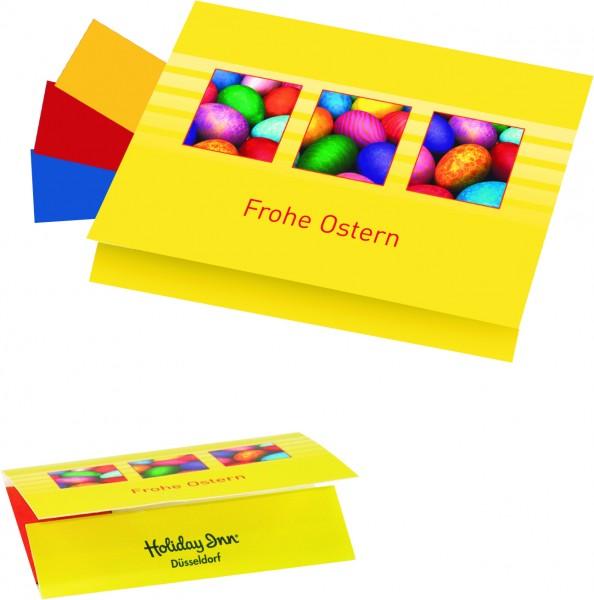 Klappkärtchen Eierfärberei 90x 60 mm, 3 Farben sortiert, 1-4 c Digitaldruck inklusive
