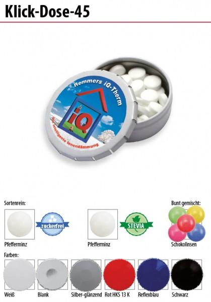 Klick-Dose-45 - Inhalt: ca. 12 g Pfefferminz-Pastillen mit Stevia