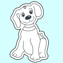 Weichplastiksticker Hund - neongelb (Größe: ca. 4,6 cm) - optional mit Siebdrucktransfer