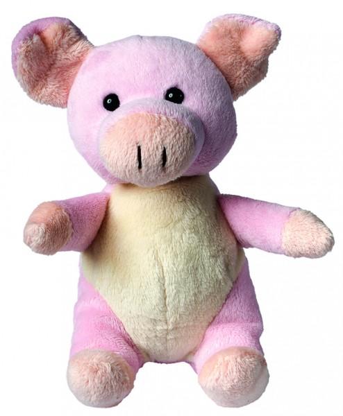 Plüsch Schwein Babsi - rosa (Größe: ca. 14 cm) - optional mit Siebdrucktransfer, Direkttransfer