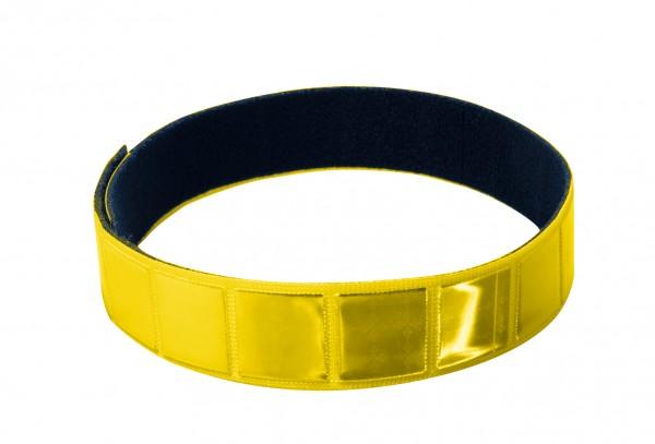 Reflexband mit Velourrücken - neongelb (Größe: ca. 38 cm) - optional mit Siebdruck