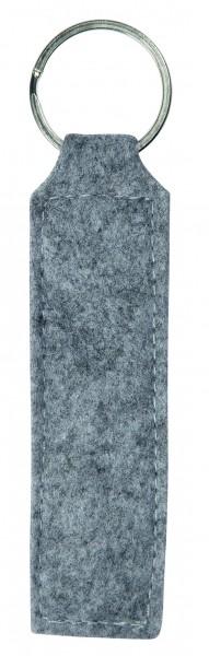 Polyesterfilz Schlüsselanhänger Rechteck (Filzstärke: ca. 2,5 mm) - hellgraumeliert - optional mit