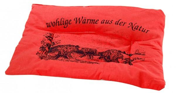 Getreidekissen/ Wärmekissen - rot (Größe: ca. 37 cm) - optional mit Siebdrucktransfer