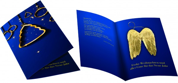 Weihnachtskarte Goldene Flügel, ohne Kuvert, 1-4 c Digitaldruck inklusive