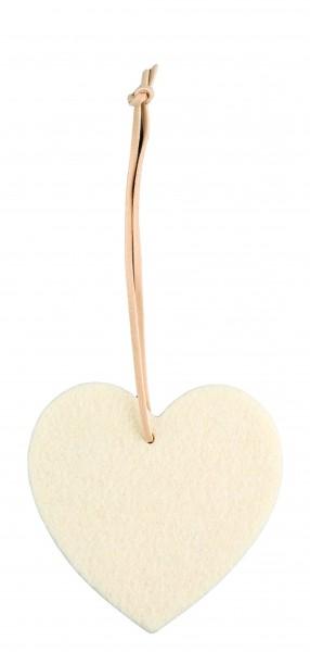 Filzanhänger Herz, mittel (Filzstärke: 5 mm) - creme - optional mit Siebdrucktransfer