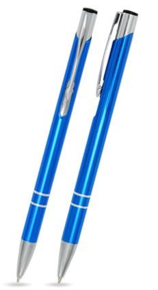 LIBO SLIM Hellblau glänzender Metallkugelschreiber