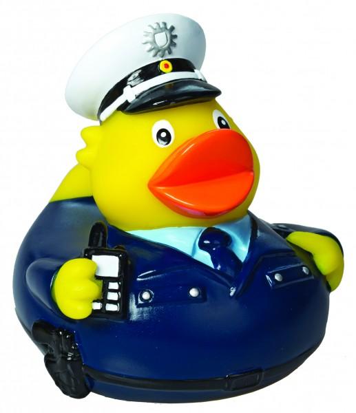 Quietsche-Ente Polizist - bunt (Größe: ca. 8 cm) - optional mit Tampondruck