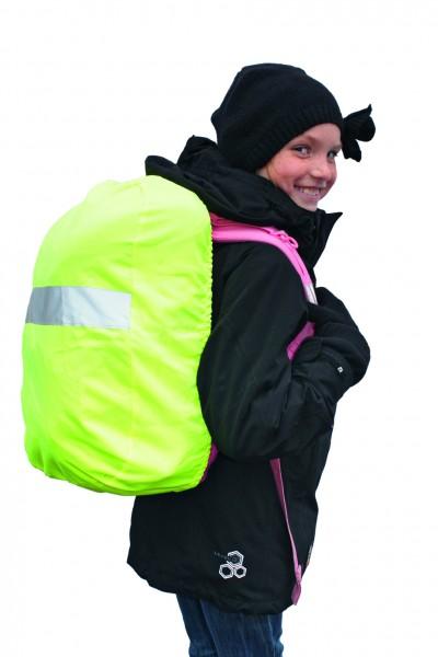 Reflektierender Regenschutz für Rucksäcke und Schultaschen - neongelb - optional mit Siebdrucktransf