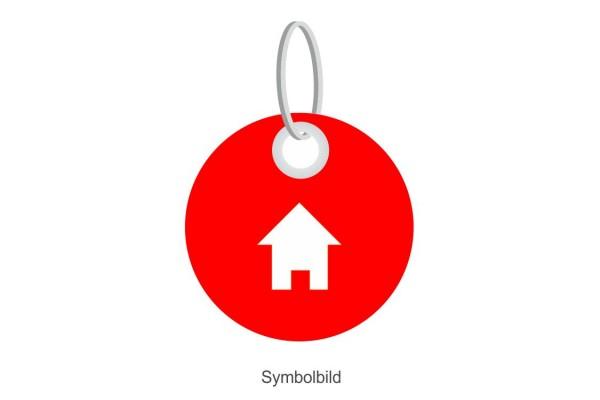Filz Schlüsselanhänger - Scheibe - Haus - optional mit Schlüsselring / Werbekarte