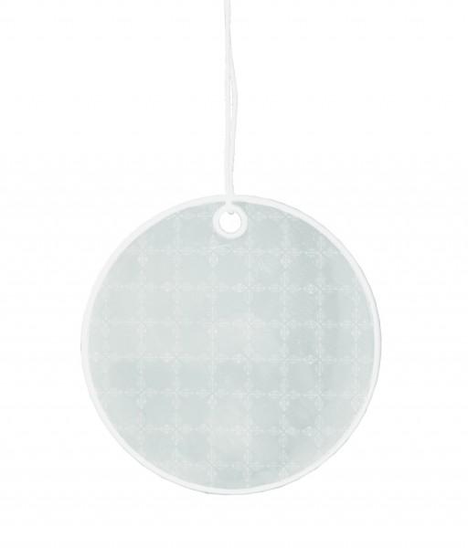 Weichplastikreflektor Kreis - silber (Größe: ca. 6,2 cm) - optional mit Siebdrucktransfer
