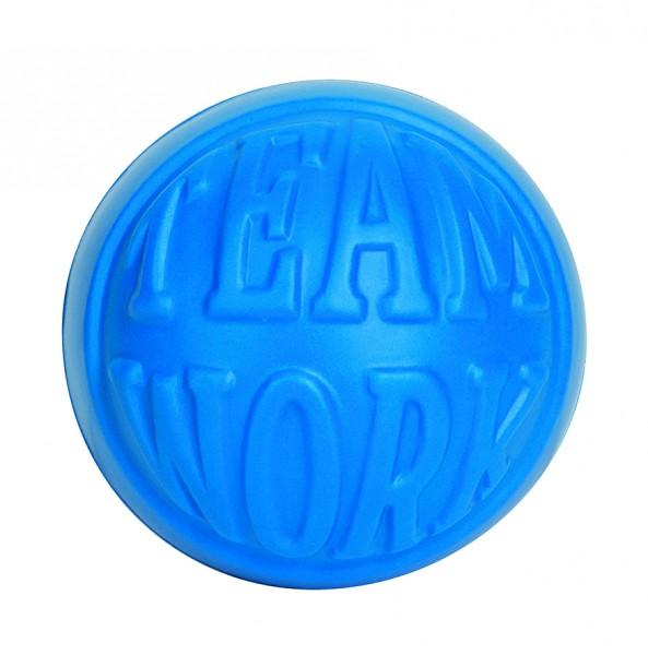 """SQUEEZIES® Statement Ball """"TEAMWORK"""" - blau (Größe: ca. 7 cm Durchmesser) - optional mit Tampondruck"""
