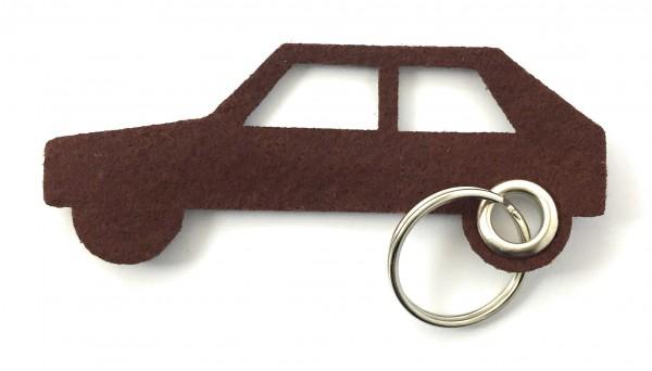Auto - retro - Schlüsselanhänger aus Filz in braun - optional mit Gravur / Aufdruck