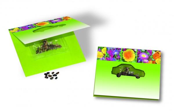 Samenkärtchen Auto, bunte Blumenmischung, 1-4 c Digitaldruck inklusive