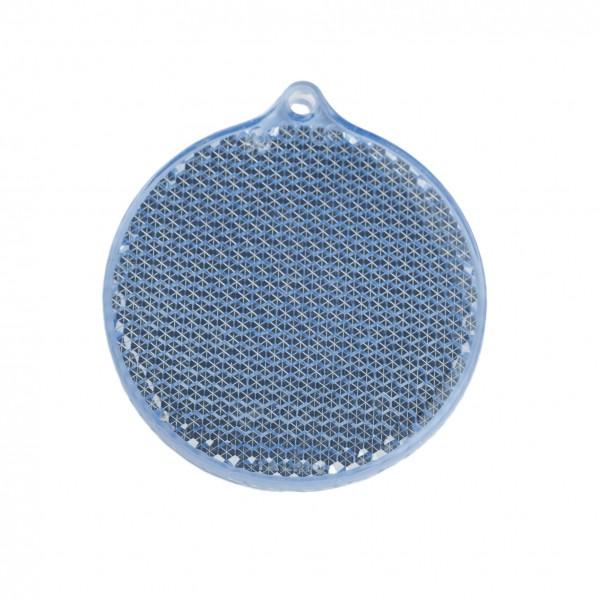 Fußgängerreflektor Rondell - blau (Größe: ca. 5,5 cm) - optional mit Tampon-/Siebdruck