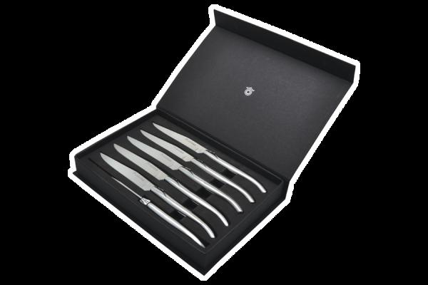 Set mit 6 Laguiole-Steakmessern, Edelstahlgriff