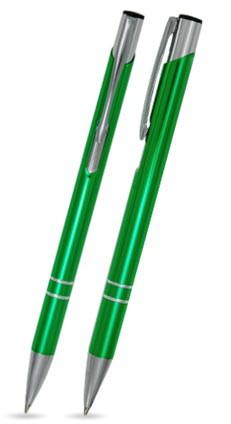 LIBO SLIM Hellgrün glänzender Metallkugelschreiber