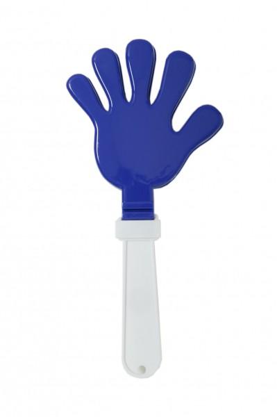 Klapperhand - blau/weiß (Größe: ca. 29 cm) - optional mit Tampondruck