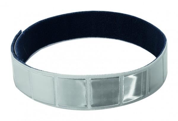 Reflexband mit Velourrücken - silber (Größe: ca. 46 cm) - optional mit Siebdruck