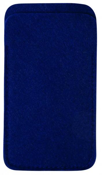 Polyesterfilz Smartphone-Tasche (Filzstärke: ca. 2,5 mm) - dunkelblau - optional mit Siebdrucktrans