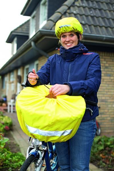 Reflektierender Regenschutz für Fahrradhelm - neongelb - optional mit Druck (Regenschutz POD)