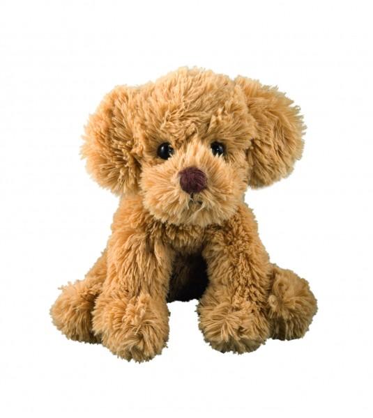 Plüsch Hund Nico klein - braun (Größe: ca. 17 cm) - optional mit Siebdrucktransfer, Direkttransfer