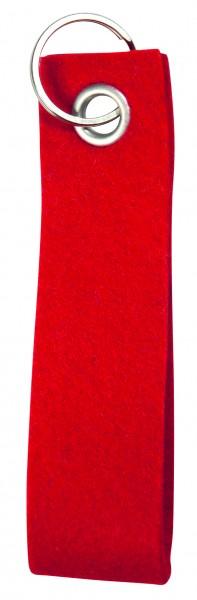 Polyesterfilz-Schlaufe Schlüsselband, groß (Filzstärke: ca. 2,5 mm) - rot - optional mit Siebdruckt