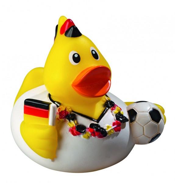 Quietsche-Ente Fußballfan - gelb (Größe: ca. 8 cm) - optional mit Tampondruck