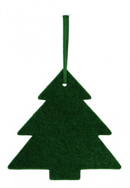 Filzanhänger Tannenbaum, groß (Filzstärke: 5 mm) - dunkelgrün - optional mit Siebdrucktransfer
