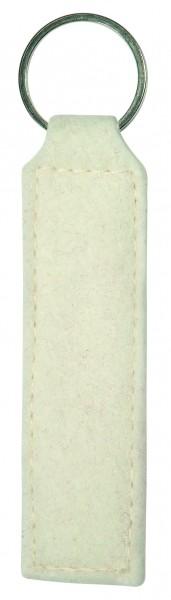 Polyesterfilz Schlüsselanhänger Rechteck (Filzstärke: ca. 2,5 mm) - weiß - optional mit Siebdrucktr