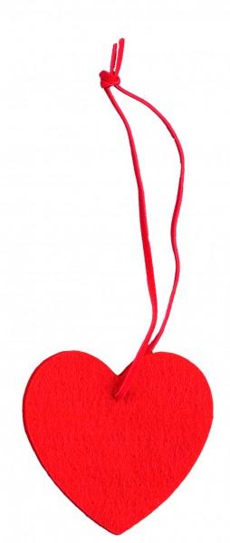 Filzanhänger Herz, klein (Filzstärke: 5 mm) - rot - optional mit Siebdrucktransfer
