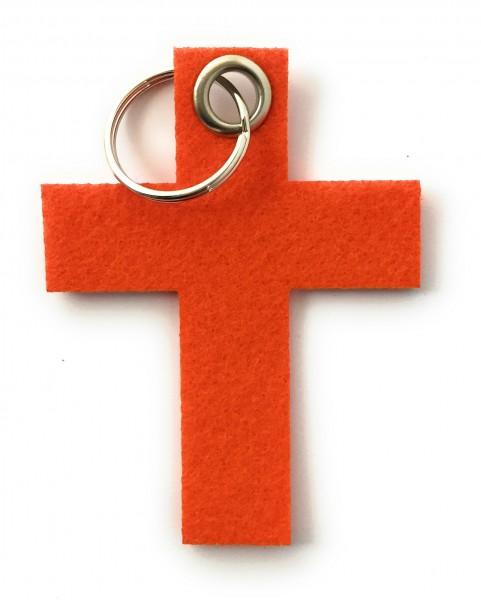 Kreuz groß - Schlüsselanhänger aus Filz in orange - optional mit Gravur / Aufdruck