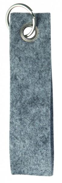 Polyesterfilz-Schlaufe Schlüsselband, groß (Filzstärke: ca. 2,5 mm) - hellgraumeliert - optional mi