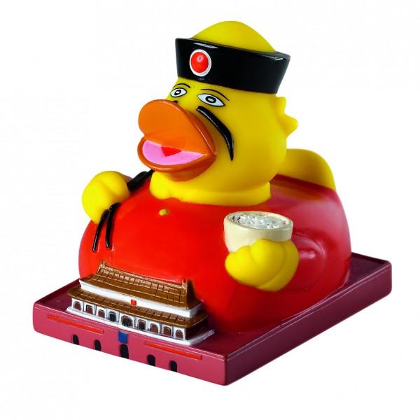 Quietsche-Ente CityDuck® Peking - bunt (Größe: ca. 8 cm) - optional mit Tampondruck