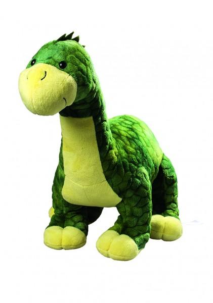 Plüsch Dino Tino groß - grüngelb (Größe: ca. 32 cm) - optional mit Tampondruck, Siebdrucktransfer, D