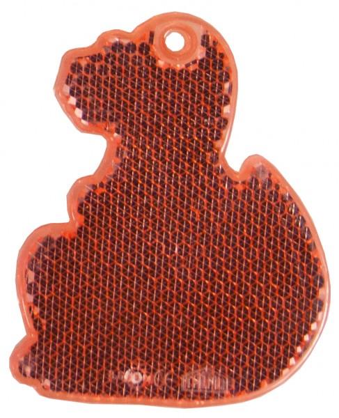 Fußgängerreflektor Dino - rot (Größe: ca. 7 cm) - optional mit Tampon-/Siebdruck