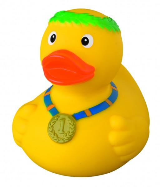 Quietsche-Ente Sieger - gelb (Größe: ca. 8 cm) - optional mit Tampondruck