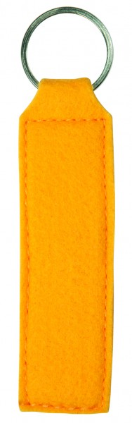 Polyesterfilz Schlüsselanhänger Rechteck (Filzstärke: ca. 2,5 mm) - gelb - optional mit Siebdrucktr
