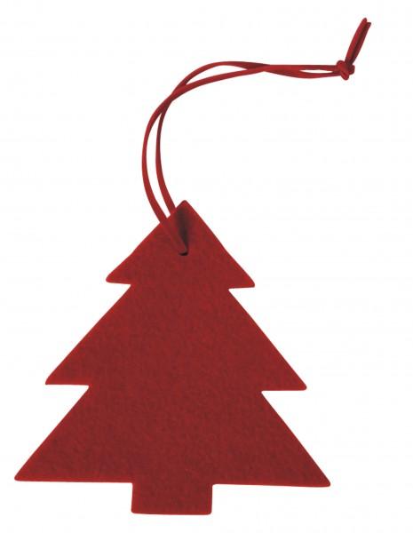 Filzanhänger Tannenbaum, groß (Filzstärke: 5 mm) - rot - optional mit Siebdrucktransfer